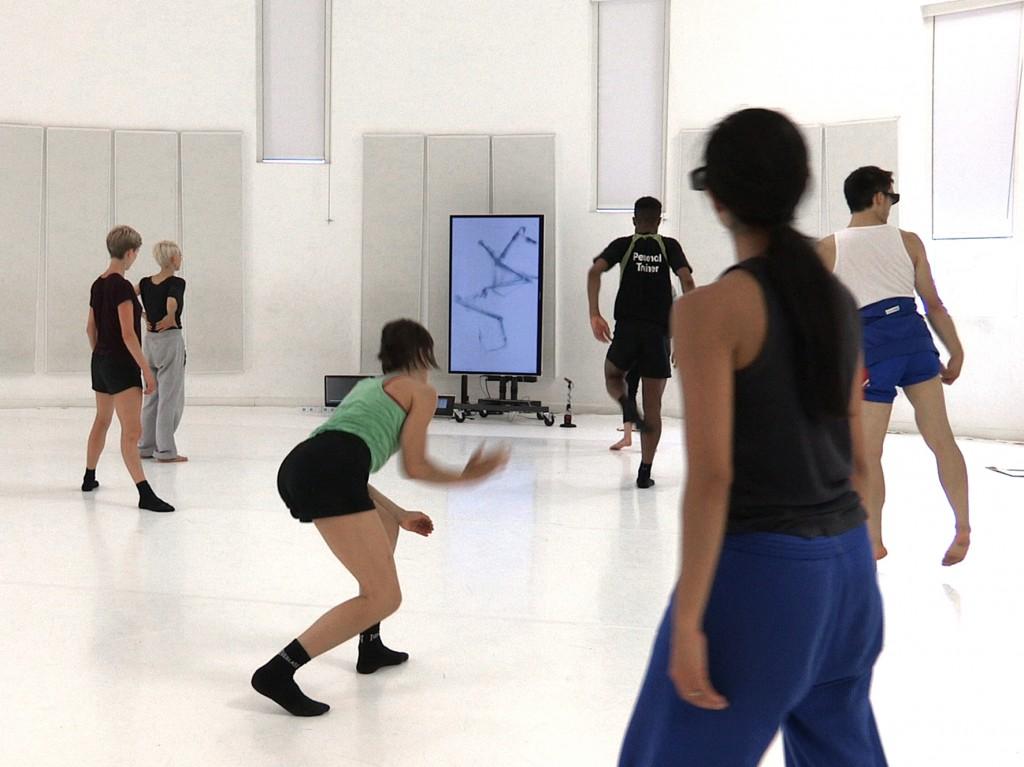 Dancers in the Atomos rehearsal studio, filmed by David Bickerstaff.