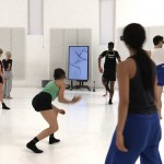 Dancers in the Atomos rehearsal studio, filmed by David Bickerstaff.